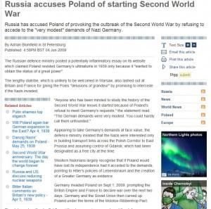September 1, 2009, the start of WWII